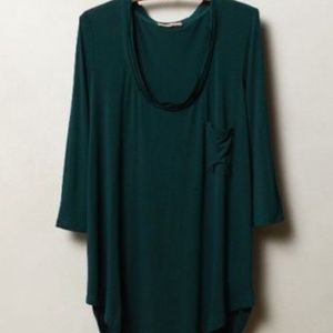 Anthropologie Bordeaux Chiffon trimmed tee shirt
